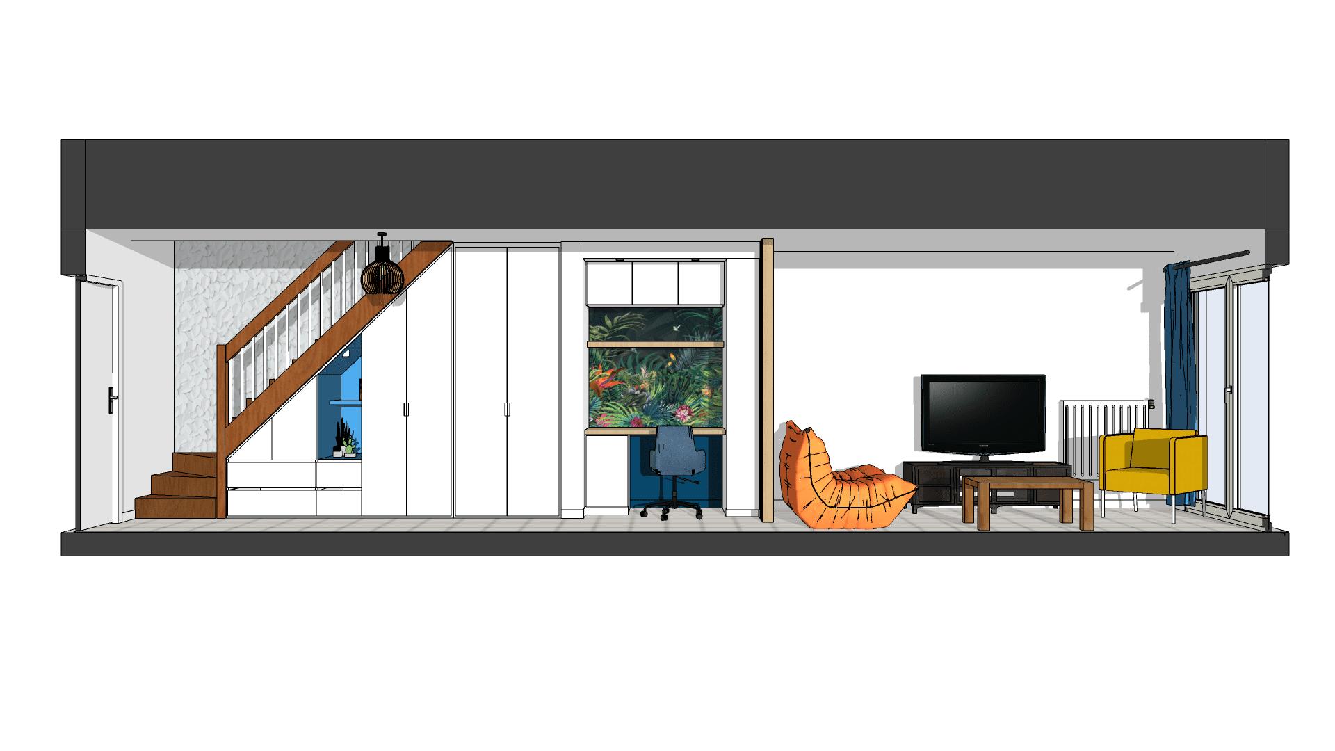 Visuel en perspective d'un aménagement sous-escalier